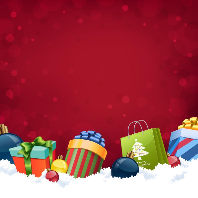 圣诞雪地礼盒背景矢量素材