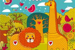 卡通狮子与长颈鹿背景矢量素材