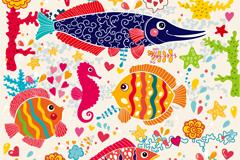 卡通海底世界鱼类背景矢量素材