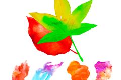 创意水彩秋叶设计矢量素材