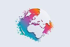 抽象彩色地球背景矢量素材