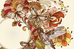 彩绘复古蜂鸟花卉背景矢量素材