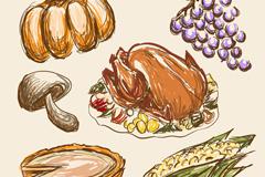 6款彩绘感恩节食物矢量素材