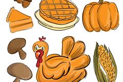 7款彩绘感恩节食物矢量素材