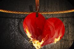 燃烧爱心背景矢量素材