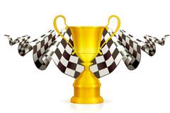 F1方程式赛车奖杯与旗子设计矢量