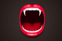 吸血鬼张大的嘴设计矢量素材