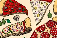 彩绘美味披萨背景矢量素材