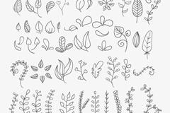 46款手绘花朵与树叶矢量素材
