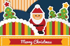 童趣剪纸圣诞老人卡片矢量素材