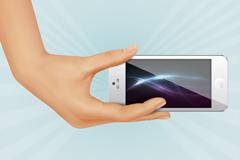 单手握iPhone背景矢量素材