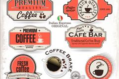 13款咖啡标签与贴纸矢量素材