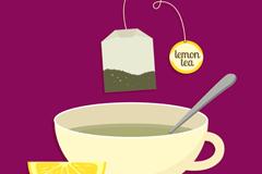 卡通柠檬茶背景矢量素材
