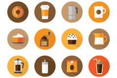 16款咖啡甜品图标矢量素材