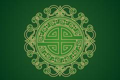 绿色中国风花纹背景矢量素材