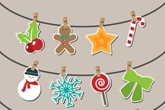3款卡通剪纸圣诞挂饰矢量素材