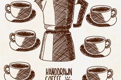 手绘咖啡壶与咖啡矢量素材