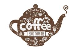 创意花纹咖啡壶矢量素材