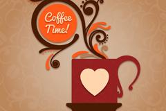 创意花纹咖啡时间背景矢量素材