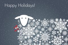雪花绵羊假日背景矢量素材
