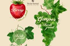 3款水彩水果设计矢量素材
