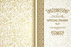 复古金色玫瑰花纹卡片矢量素材