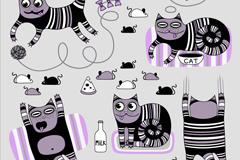 5款卡通条纹猫矢量素材