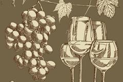 复古手绘葡萄酒背景矢量素材
