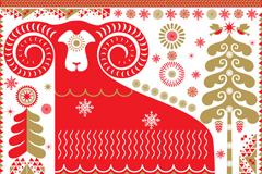 红色花纹绵羊背景矢量素材
