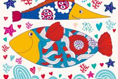 卡通海底鱼类背景矢量素材