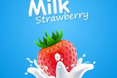 动感新鲜草莓与牛奶矢量素材