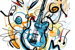 创意电吉他涂鸦矢量素材