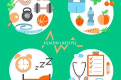 4款健康生活方式标签矢量素材