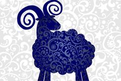 蓝色花纹绵羊背景矢量素材