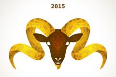 2015年金色羊头背景矢量素材