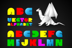 彩色折纸英文字母矢量素材
