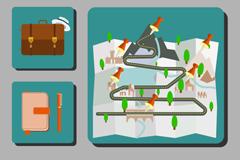 6款方形旅行图标矢量素材