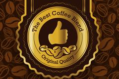 金色优质咖啡标签矢量素材