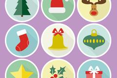 9款圆形圣诞图标矢量素材