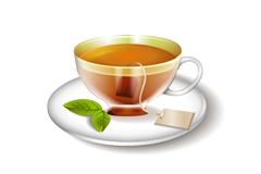 精美红茶和茶具矢量素材