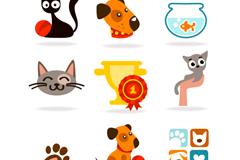 9款卡通宠物图标矢量素材