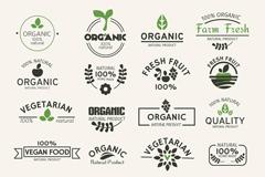 22款绿色天然食品标签矢量素材
