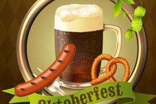 美味啤酒与香肠矢量素材