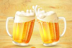 动感碰杯啤酒和木纹背景矢量素材