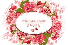 粉色玫瑰花卡片矢量素材