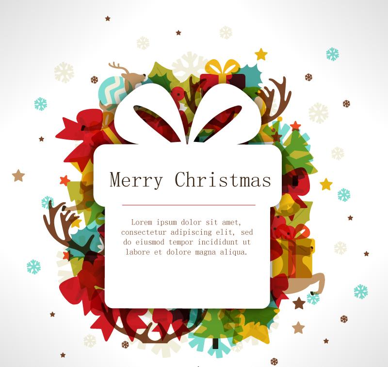圣诞节礼物盒折纸-圣诞剪纸礼盒水彩背景矢量素材图片