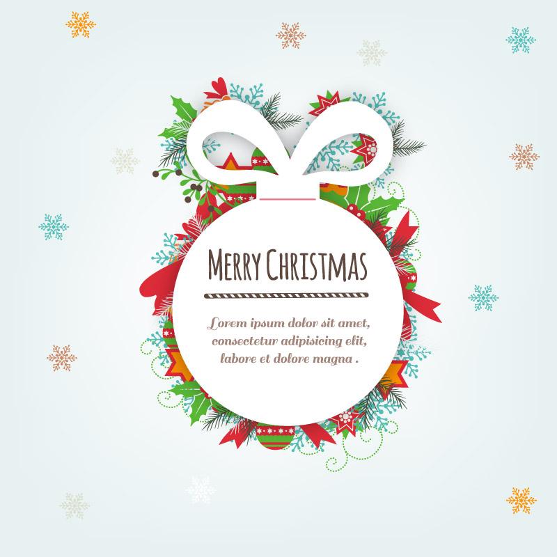 白色纸质圣诞吊球矢量素材
