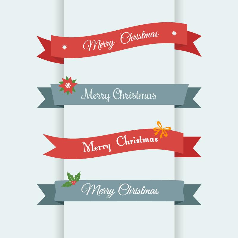 4款圣诞纸质丝带矢量素材