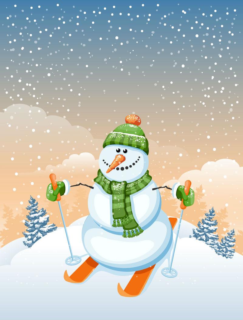 滑雪的圣诞雪人矢量素材