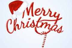 圣诞帽和Merry Christmas矢量素材